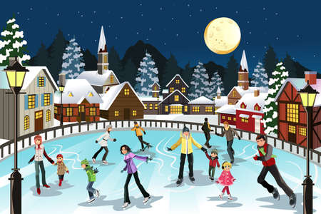 Illustration pour A vector illustration of people ice skating in an outdoor ice skating rink during the winter season - image libre de droit