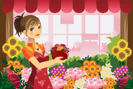 A vector illustration of a florist girl holding a pot of flowers in the flower shop