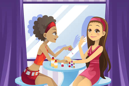 A vector illustration of a beautiful girl getting a manicure at a beauty salon