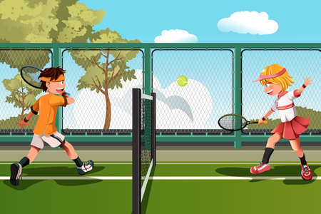 A vector illustration of two kids playing tennis
