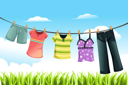 Illustration for A vector illustration of clothes drying outdoor - Royalty Free Image