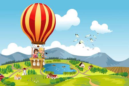Illustration pour A illustration of two kids riding a hot air balloon - image libre de droit