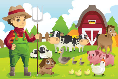 Photo for A vector illustration of a farmer at his farm with a bunch of farm animals - Royalty Free Image