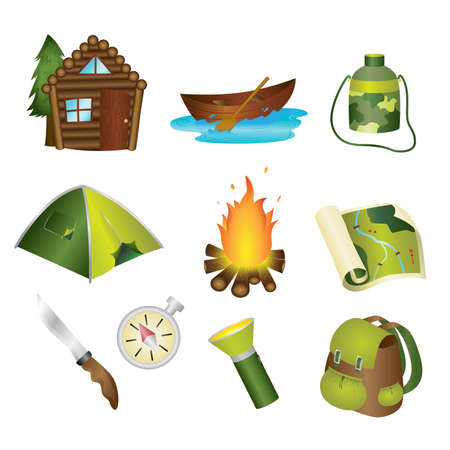A vector illustration of a set of camping icons