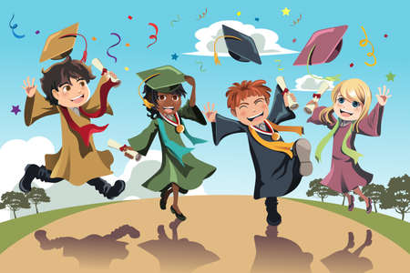 A vector illustration of students celebrating graduation