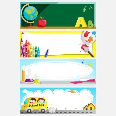 Photo for A illustration of a set of education or back to school banners - Royalty Free Image