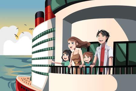 Photo pour A illustration of a family on a cruise trip - image libre de droit