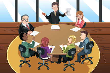 A vector illustration of a business people in a meeting in the office