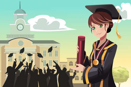 A illustration of a graduation girl holding her diploma with her friends in the background