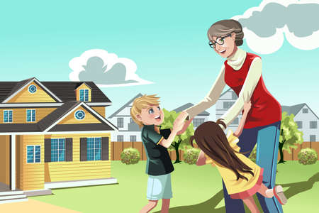 Illustration for A  illustration of a grandmother playing with her grandchildren - Royalty Free Image
