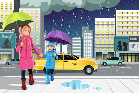 A vector illustration of a mother and a daughter walking in the rain in the city