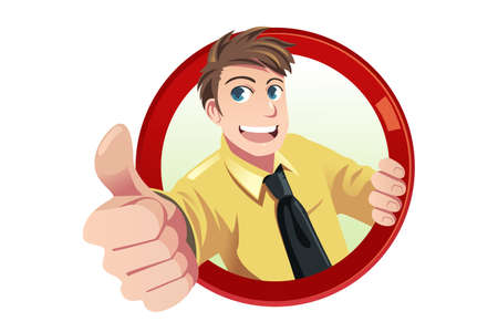 Illustration for A illustration of a businessman with his thumbs up - Royalty Free Image