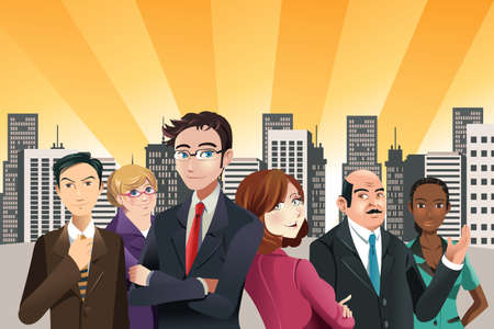 Illustration for A vector illustration of group of confident business people with city buildings in the background - Royalty Free Image