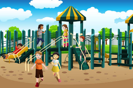 Illustration for A vector illustration of kids from different ethnics playing together in the playground - Royalty Free Image