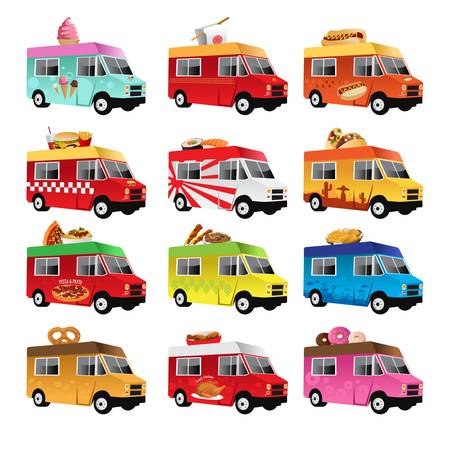 A  illustration of food truck icon designs