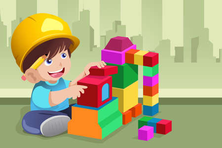 Illustration for A vector illustration of active kid playing with his toys - Royalty Free Image