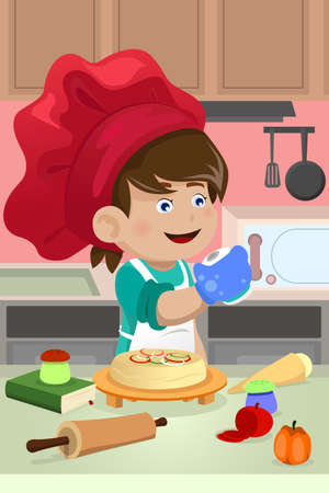 Illustration pour A vector illustration of happy kid cooking in the kitchen - image libre de droit