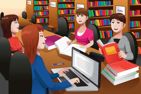 Illustration pour illustration of college students studying in a library together - image libre de droit