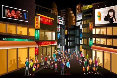 Illustration pour A vector illustration of people shopping at a busy city center at night - image libre de droit