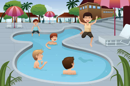 Illustration pour A vector illustration of happy kids playing in an outdoor swimming pool at a resort - image libre de droit