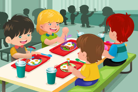 Photo pour A vector illustration of elementary students eating lunch in cafeteria - image libre de droit