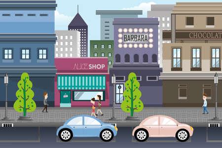 Ilustración de A vector illustration of city life - Imagen libre de derechos