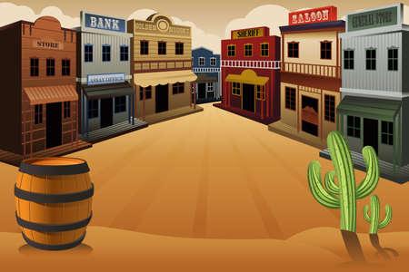 Illustration pour illustration of old western town - image libre de droit