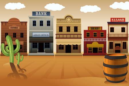 Illustration pour A illustration of old western town - image libre de droit