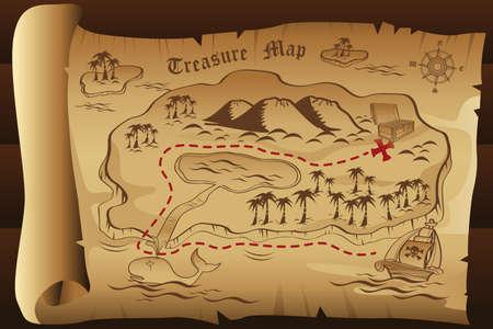 Illustration pour A illustration of treasure map - image libre de droit