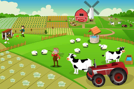 Illustration pour illustration of farm life viewed from above - image libre de droit