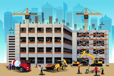 Foto de A vector illustration of building construction scene - Imagen libre de derechos