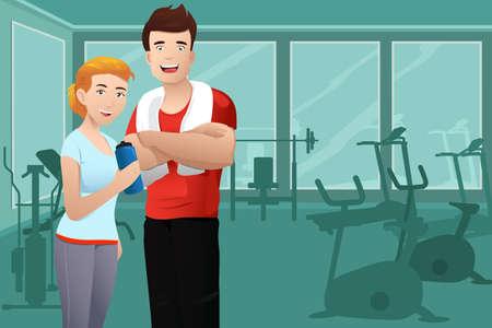 Ilustración de A vector illustration of muscular man and healthy sexy woman wearing sport outfit in the gym - Imagen libre de derechos