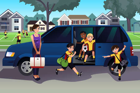 Ilustración de A vector illustration of mother driving her kids and their friends to soccer practice - Imagen libre de derechos
