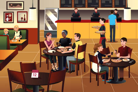 Illustration pour A vector illustration of young people eating pizza together in a restaurant - image libre de droit