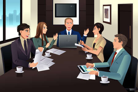 Illustration pour An illustration of business team meeting in a modern office - image libre de droit