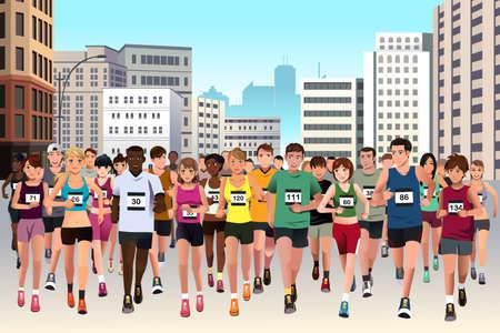 Ilustración de A vector illustration of group of marathon athlete running on street - Imagen libre de derechos