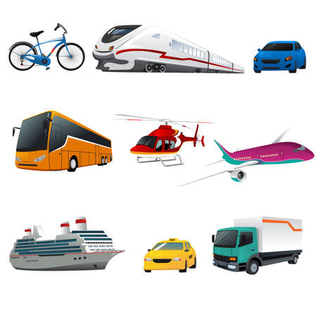 Photo pour illustration of public transportation icons - image libre de droit