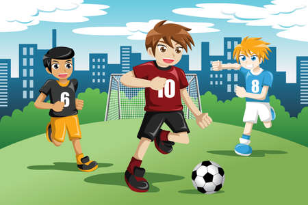 Illustration pour illustration of happy kids playing soccer  - image libre de droit