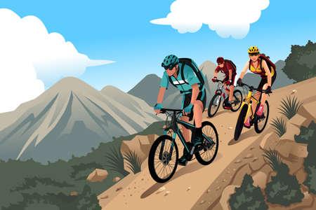Illustration pour illustration of mountain bikers in the mountain - image libre de droit