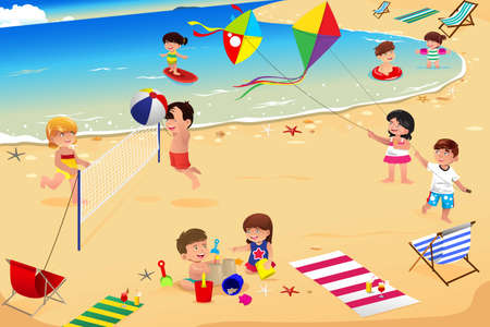 Illustration pour An illustration of happy kids having fun on the beach - image libre de droit