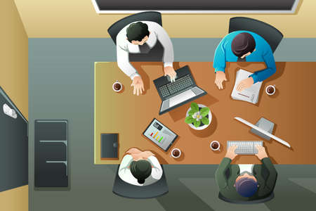 Illustration pour A vector illustration of overhead view of business meeting - image libre de droit