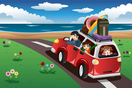 Photo pour A vector illustration of happy family going on a beach vacation together - image libre de droit