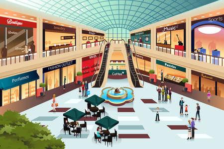 Ilustración de A vector illustration of scene inside shopping mall - Imagen libre de derechos