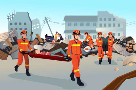 Illustration pour A vector illustration of rescue teams searching through the destroyed  buildings  during the earthquake - image libre de droit