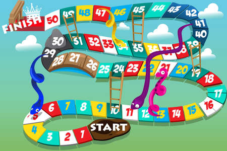 Illustration pour A vector illustration of snakes and ladders game - image libre de droit