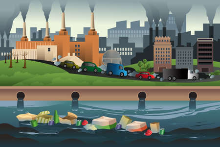 Ilustración de A vector illustration of pollution in the city for pollution concept - Imagen libre de derechos