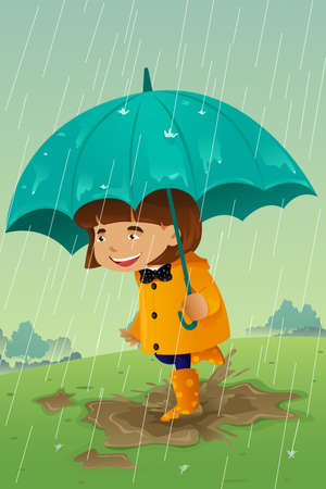 A vector illustration of girl with umbrella and raincoat playing in the mud