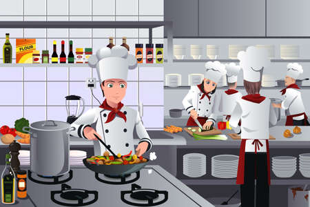 Illustration pour A vector illustration of scene inside a busy modern restaurant kitchen - image libre de droit