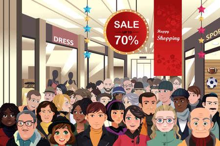 Ilustración de A vector illustration of Holiday shopping sale scene - Imagen libre de derechos