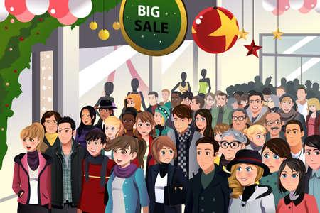 Illustration pour A vector illustration of Holiday shopping sale scene - image libre de droit